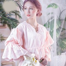 Vintage Nightgown Sleepwear Women Set Spring Flare Sleeve Long Sleep Shirts Lace Hollow Out Night Wear Sleep Dress lace sleeve bear print sleep dress