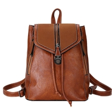Retro Matte Leather Ladies Backpack Multi-Function Bag Girls