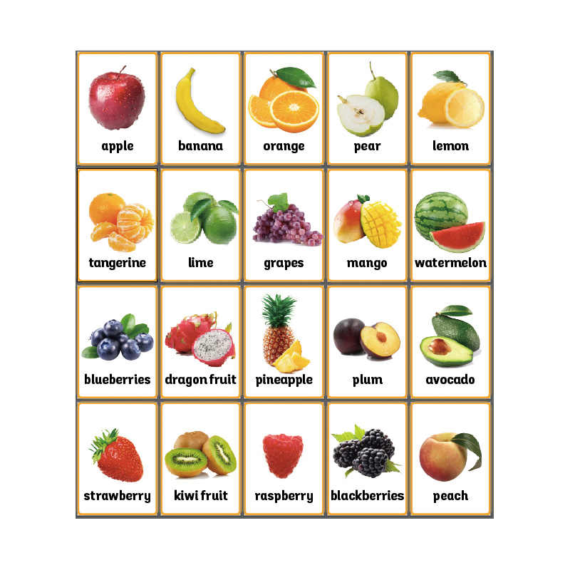 20Pcs/Set Fruits English Flash Card A4 Poster Classroom