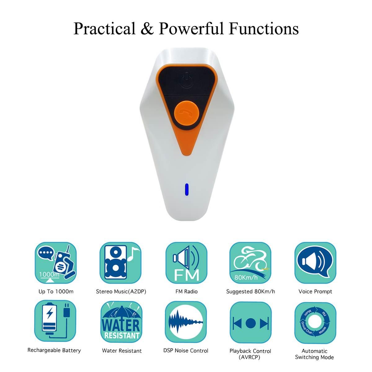 1000 M Bluetooth 3.0 EDR étanche interphone 750 mAh casque Bluetooth casque moto casque haut-parleur IP67 MP3 GPS
