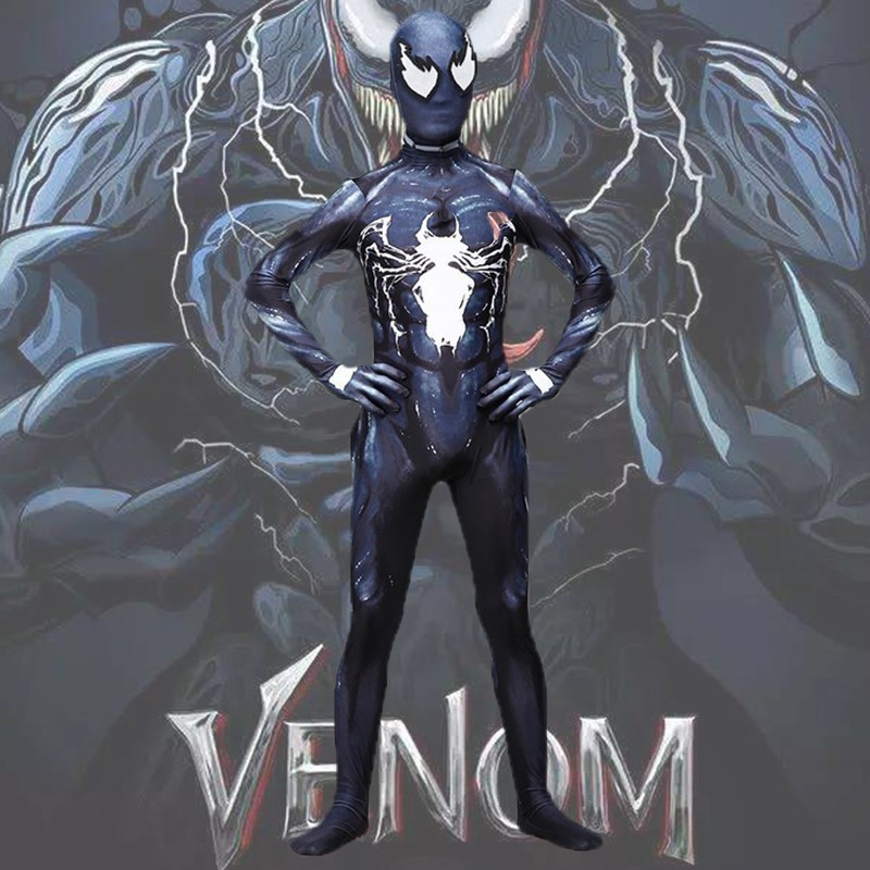 Dapper Marvel Venom Symbiont Kostuum Edward Eddie Brock Cosplay Carnaval Superhero Halloween Volwassen Jumpsuit Mannen 3d Print Party Kids