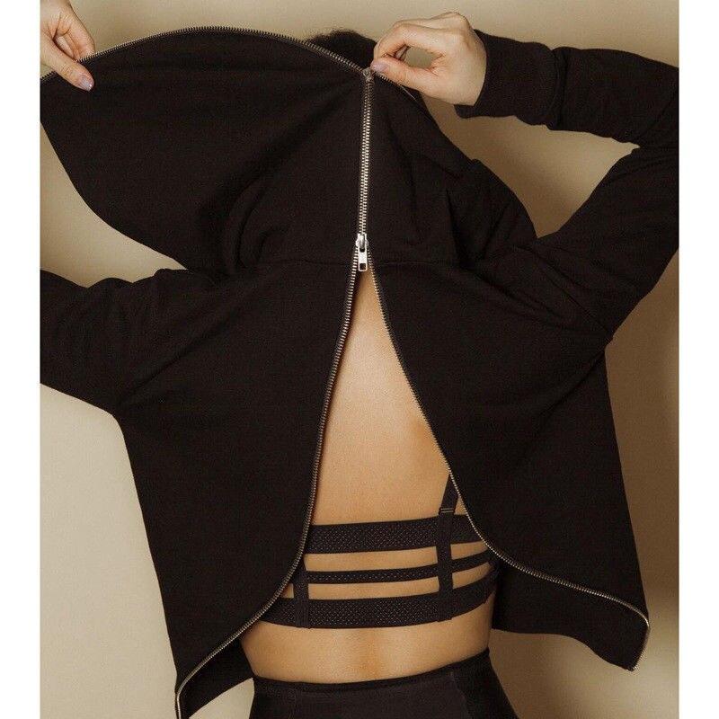 Fashion Women Punk Hoodies Back Zipper Hoodies Sweatshirt Jumper Ladies Top Plus