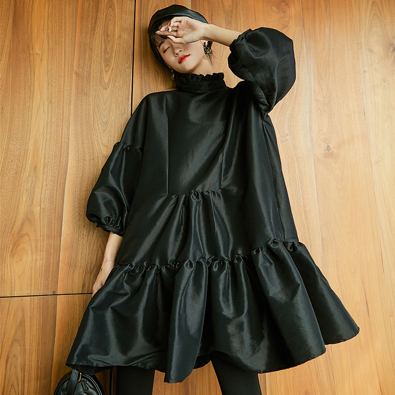 SHENGPALAE Puff Three Quarter Sleeve Dresses For Women Ruffled Collar Black Mini Ball Gown Dress Female 2020 Spring Korean FL350