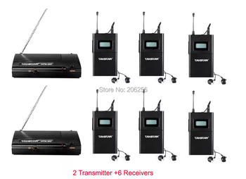 Takstar WPM-200 2 Transmitter 6 Receivers UHF Wireless Monitor System Stereo In-Ear earphones For on stage monitoring TV Music