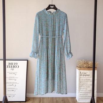2019 Elegant Ruffled Collar Floral Print Women Dress Full Sleeve Elastic Slim Waist Chiffon Spring Autumn Straight Dress