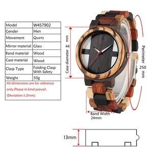 Image 4 - גברים של עץ שעונים רטרו אבוני עץ שעון זכר ייחודי מעורב צבע עץ מתכוונן בנד קוורץ שעוני יד Relogio Masculino