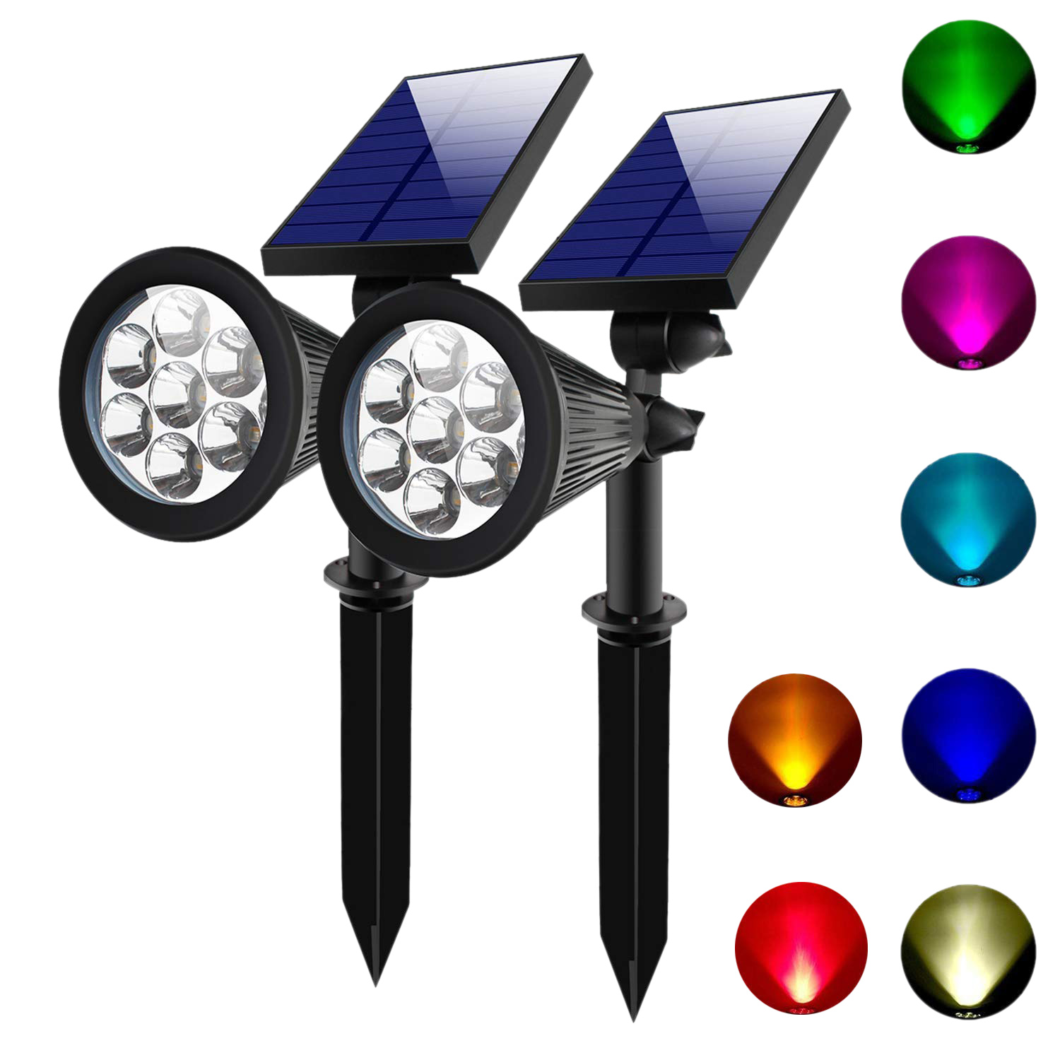 2 SETS 7 LED Solar Spotlights Outdoor Solar Lights Waterproof Color Spot Lights for Garden