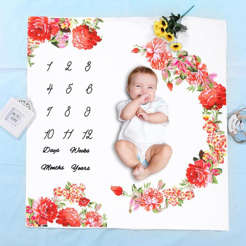 Newborn Baby Photo Background Cloth Blanket Floral Print Baby Photography Prop Infant Stroller Swaddle Wrap Blankets Bath Towel