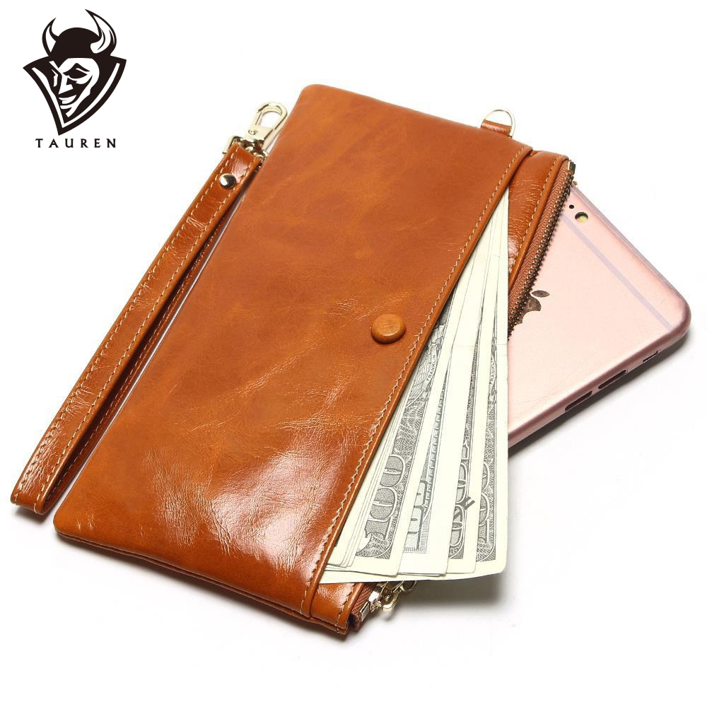 Portefeuilles Slim Oil Wax Leather Mobile Packet 7 couleur femmes en cuir mince sac à main en cuir simple en cuir main tenant un porte-monnaie