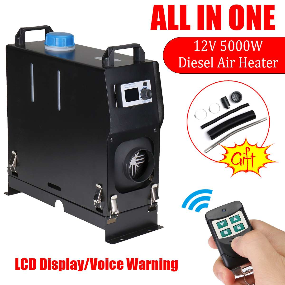 All In One 5000W Air Diesels Parking Heater 5KW 12V Car Heater For Trucks Boats Bus Caravan + LCD Screen Switch +Remote controlAll In One 5000W Air Diesels Parking Heater 5KW 12V Car Heater For Trucks Boats Bus Caravan + LCD Screen Switch +Remote control