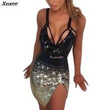 цены на Hollow Out Party Bodycon Dress Women 2019 Off Shoulder Night Club Dress Sexy Backless Deep V-Neck Sequins Dress Xnxee в интернет-магазинах