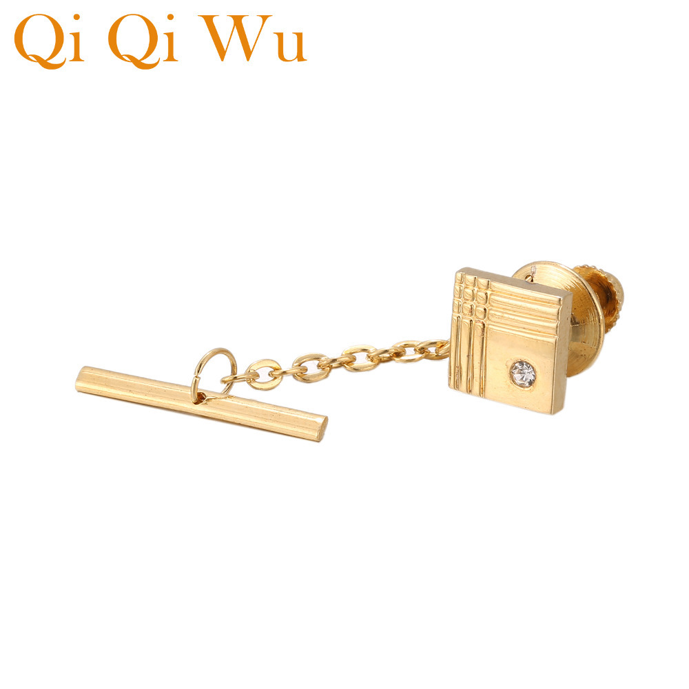 Trendy Square Tie Chain with Crystal Mens Jewelry Gifts Bow Clutch Pin Mens Shirt Backs Tie Pin Gold Color Tie Tack Golden KnotTrendy Square Tie Chain with Crystal Mens Jewelry Gifts Bow Clutch Pin Mens Shirt Backs Tie Pin Gold Color Tie Tack Golden Knot