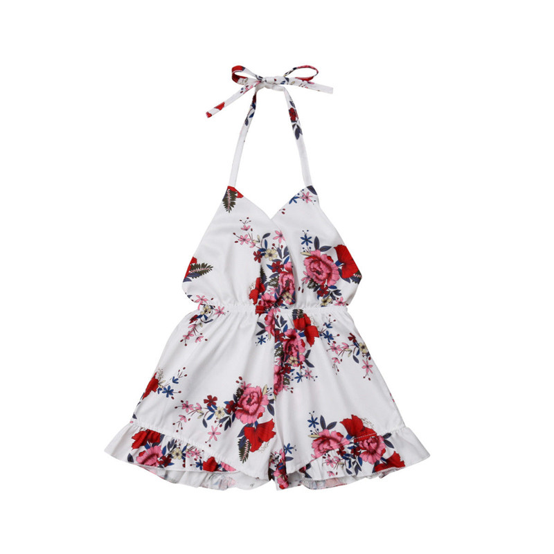 Newborn Baby Girl Floral Off Shoulder Rompers Playsuit Sunsuit Kids Toddler Princess Strapless Summer Clothes Playsuit Jumpsuit