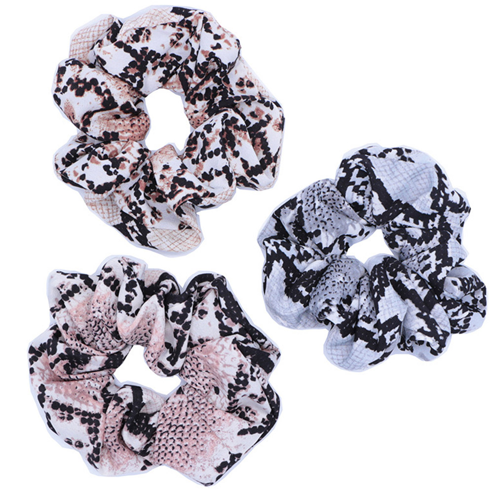 Fashion Round Women's Snake Printed Scrunchies Hair Ties For Girls Elastic Hair Bands Ponytail Holder Hair Accessories For Gifts