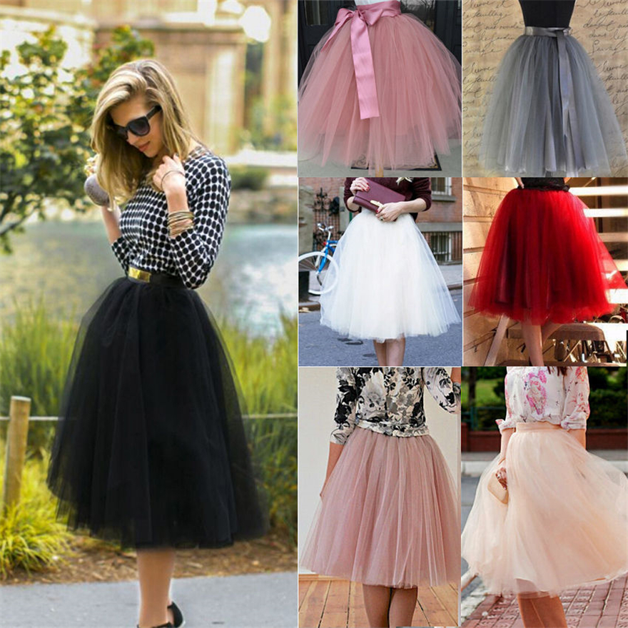 7 Layer Tulle <font><b>Skirts</b></font> Women Ladies Girls Sweet Solid Knee Length <font><b>Ball</b></font> Gown <font><b>Skirts</b></font> Summer Lolita Petticoat Bridesmaids Midi <font><b>Skirt</b></font> image