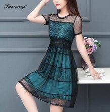 купить 2019 Plus size 4XL New Women lace patchwork short Sleeve A-line knee length Dress summer O-neck Female Casual hollow out Dresses по цене 949.05 рублей