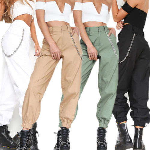 New Women's Cargo Trousers Pants Solid Punk Loose Long Sports Hiking Streetwear Pants With Chain Hip Hop Dance Pants