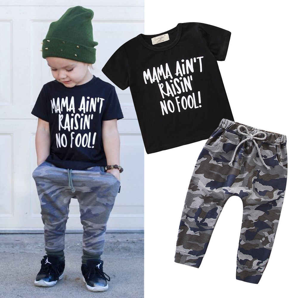 45cd4777a Pudcoco 2019 Summer Toddler Baby Boy Camoflage print Clothes Mama Letters Tops  T-Shirt Camo