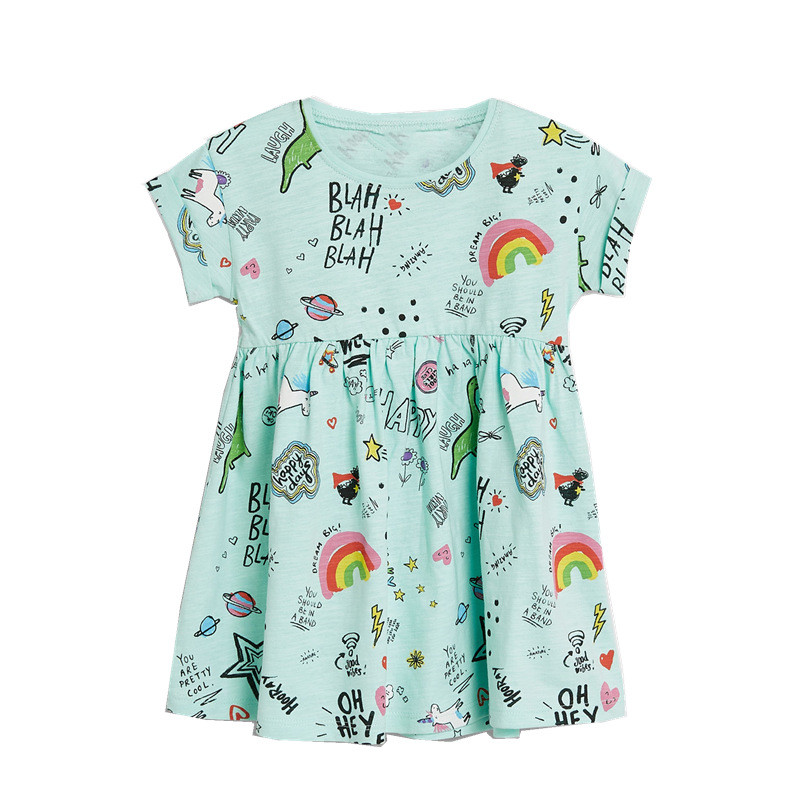 70c28ac280 Jumping Meters New Rainbow Baby Dress Clothes Cotton Print Cartoon  Characters 2019 Unicorns Kids Girls Dresses Summer Child Wear