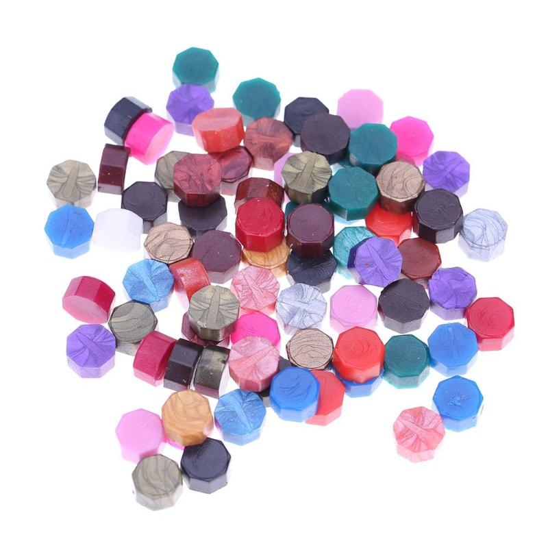 100pcs/lot Vintage Retro Octagon Sealing Wax Tablet Pill Beads DIY Wedding Stamping For Envelope Decor  Wax Brass Paint Spoon