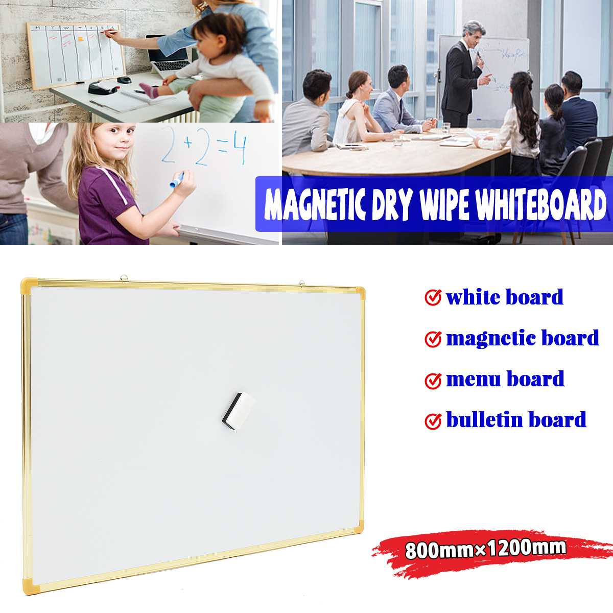 Kicute 1pcs 800mm*1200mm Double Side Writing Whiteboard Notice Memo Board Dry Erase Board and Magnetic Dry Wipe