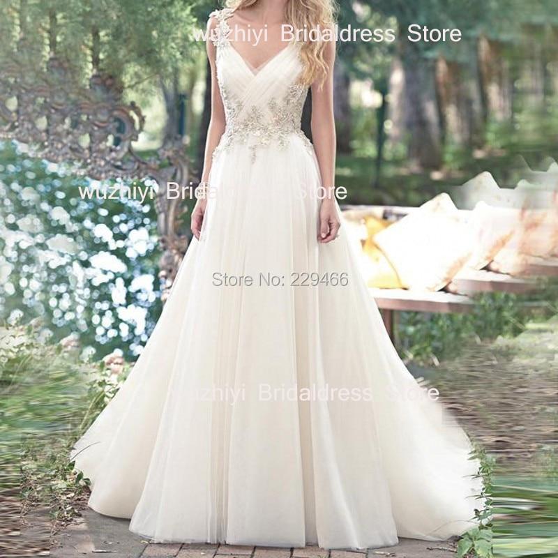 Wuzhiyi robes de mariée 2018 Sexy V cou robes de noiva dos nu Une ligne de robe de mariage 2018 robe de mariée Tull robes de noiva