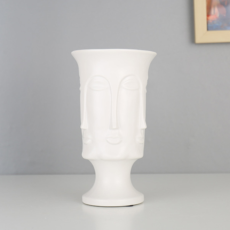 Image 4 - Nordic Minimalism Abstract Ceramic Vase Face Art Matte Glazed Decorative Head Shape Vase White Ceramic-in Flower Pots & Planters from Home & Garden