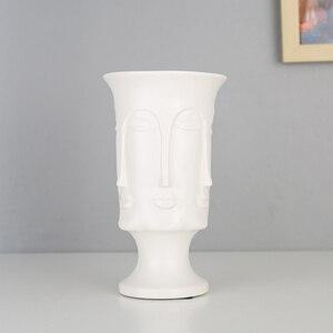 Image 4 - Nordic Minimalisme Abstracte Keramische Vaas Gezicht Art Matte Geglazuurd Decoratieve Hoofd Vorm Vaas Witte Keramische