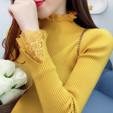 Autumn Winter Turtleneck Lace Patchwork Sweater Women Skinny Elastic Knitted Pullover Female Korean Fashion Pullovers