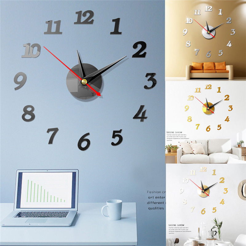 Image 4 - DIY 3D Roman Numbers Watch Wall Clock Home Decor Mirror Wall Sticker 4 Colors Acrylic Mirror Wall Sticker Wall Clock-in Wall Stickers from Home & Garden