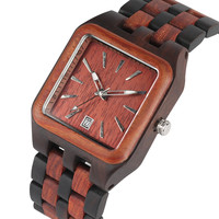 Luxury Wood Watch Quartz Wooden Mens Watches Classic Auto Date Business Men's Wristwatch Quartz Timepieces Male Clock reloj 2019