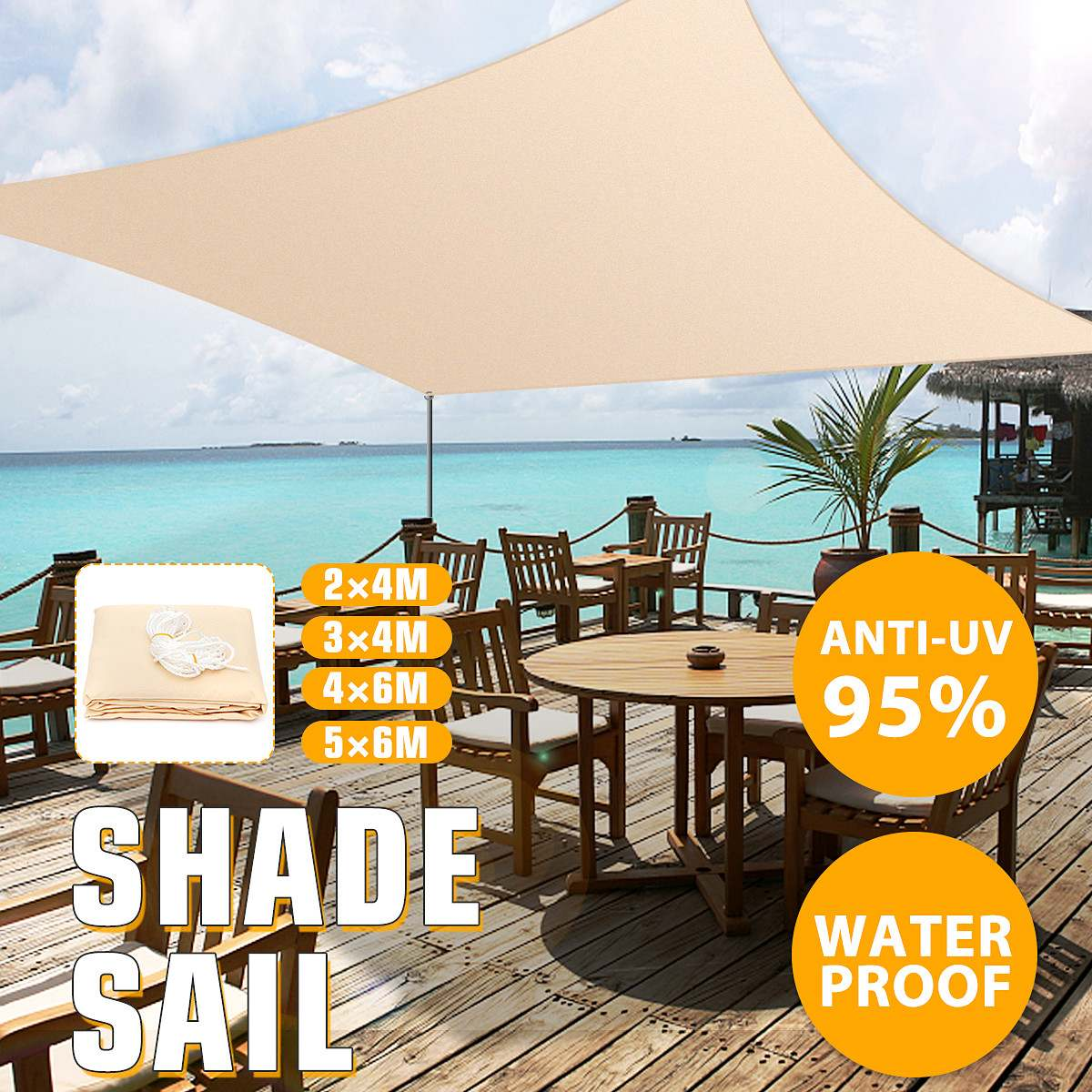 2x4 3x4 4x6 5x6m 4 Sizes Sun Shade Canopies Sails Outdoor Camping Hiking Yard Garden Shelters Uv Block Top Cover Waterproof