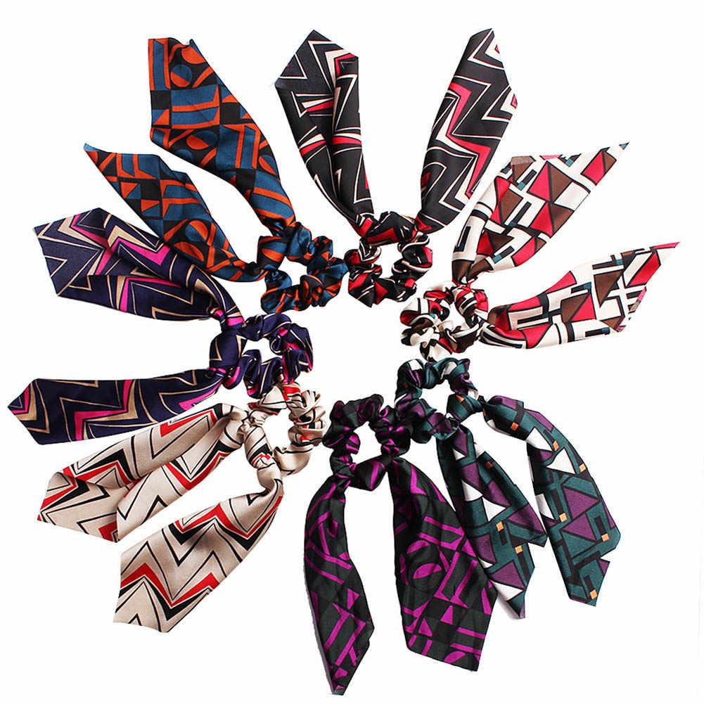 Винтажный цветочный женский шарф для волос с бантом, резинки для волос, держатель для конского хвоста, Летние повязки на голову, эластичные резинки для волос для девочек
