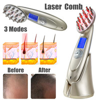 USB Laser Comb Hair Growth Loss Regrowth Treatment Massage Hair Brush Household LCD Health Care Combs Tools Instrument Unisex