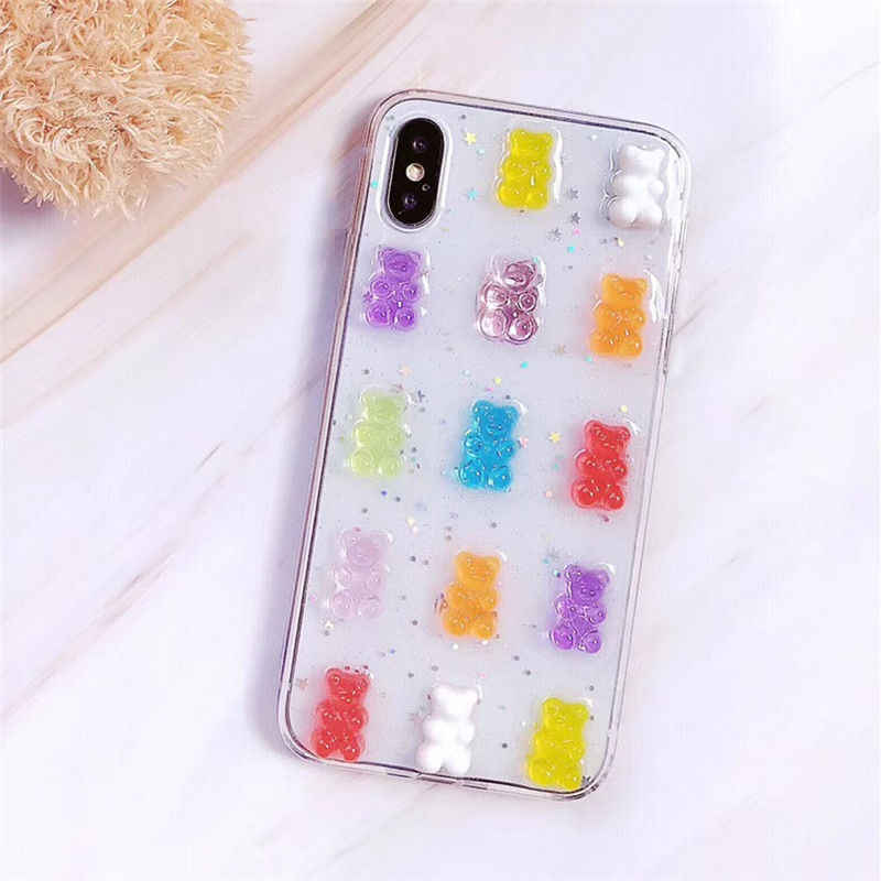 Transparent Phone Case For iphone X XR XS Max Rainbow Candy Bear Soft TPU Clear  Case 52b0ff80d81a