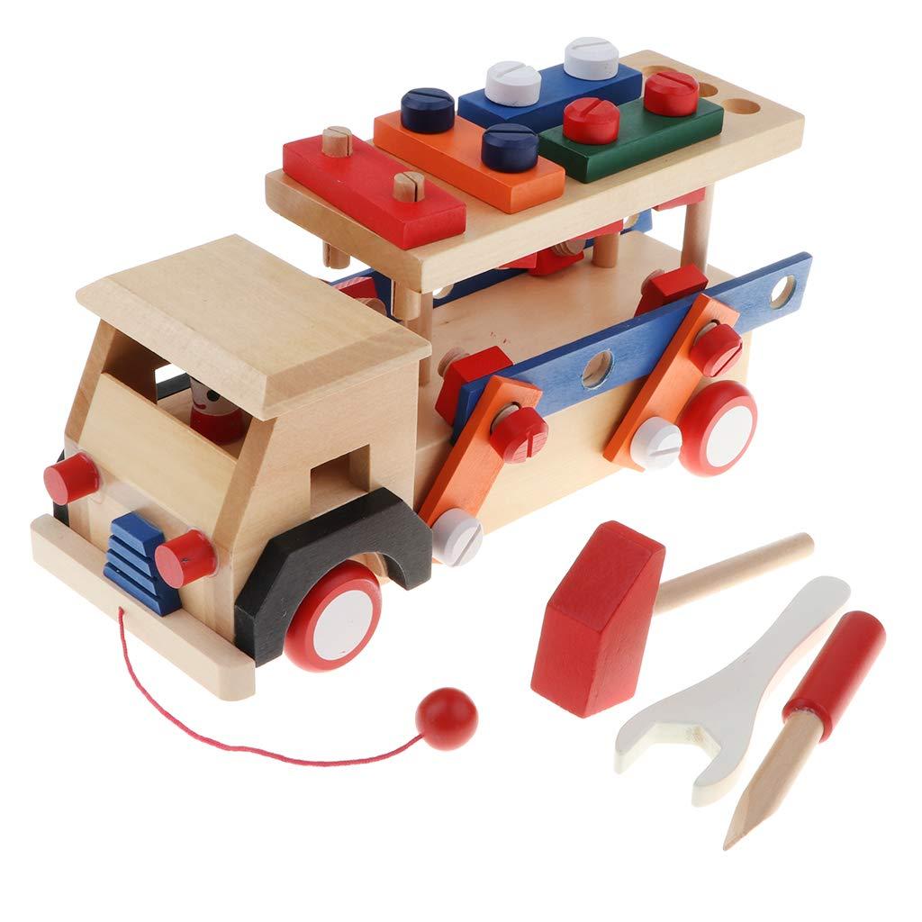 Blocs de Construction en bois jeu de Construction de voiture Coordination œil-main jouets éducatifs cadeau d'anniversaire pour enfants enfants en bas âge - 3