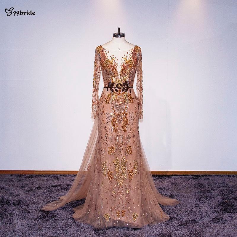 YYbride New Design Scoop Neck Mermaid Floor Length Evening Dresses Backless V Neck Luxury Lace Beading Belt Celebrity Dresses