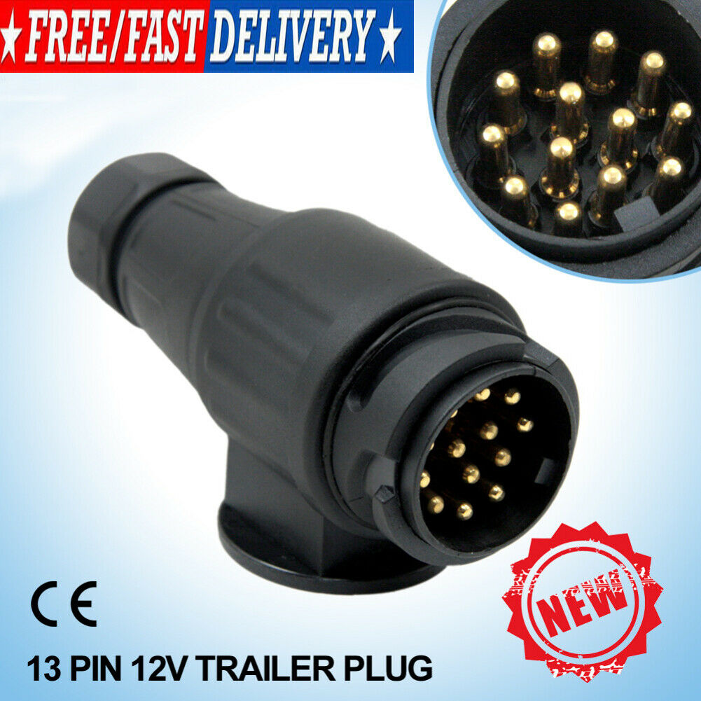 12V 13 Pin Electric Trailer Plug 13 Pole Caravan Wiring Connector Adapter Black