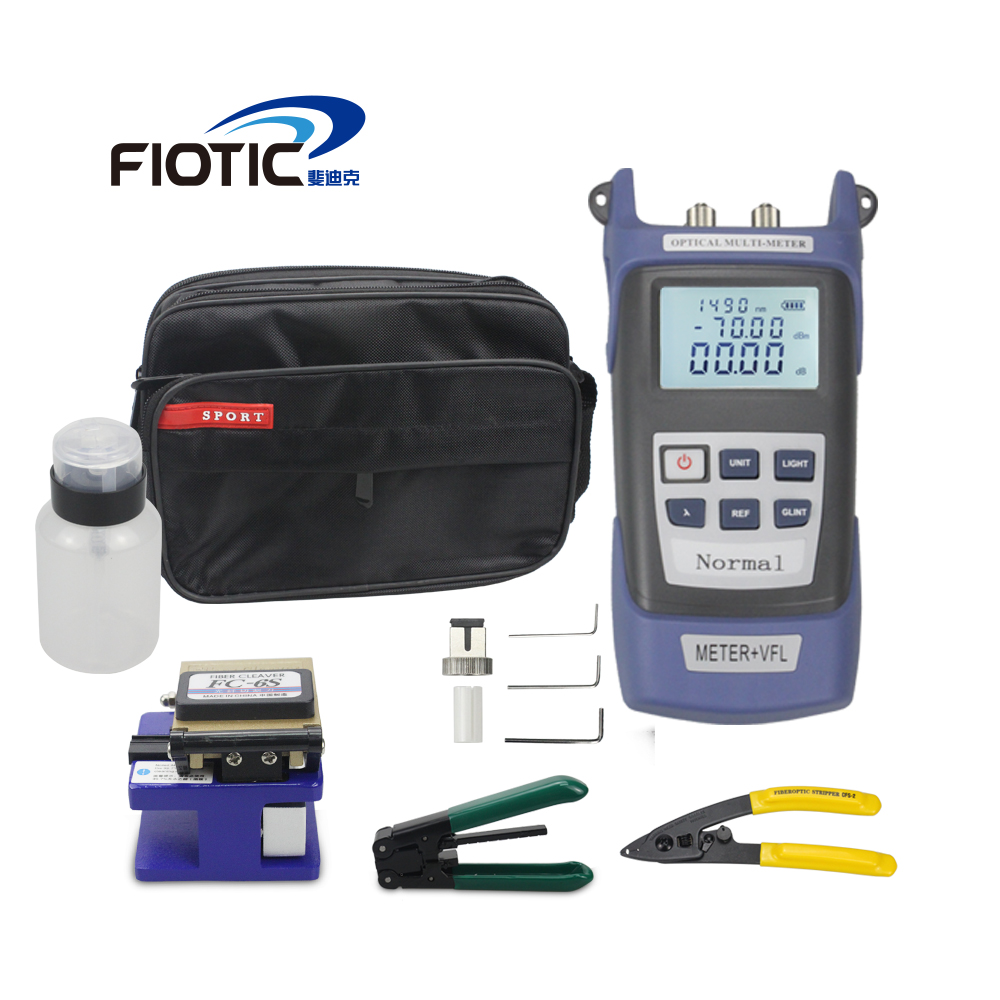 Fiber optic FTTH Tool Kit with Fiber Cleaver FC6S  Optical Power Meter 5KM Visual Fault Locator 5MW Wire stripper miller clampFiber optic FTTH Tool Kit with Fiber Cleaver FC6S  Optical Power Meter 5KM Visual Fault Locator 5MW Wire stripper miller clamp