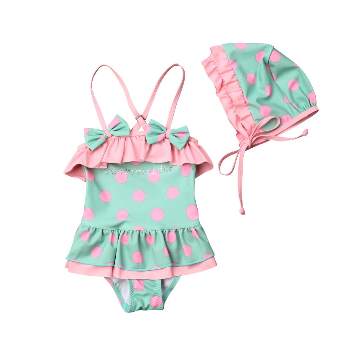 1-6 T Kleinkind Kind Baby Mädchen Ein-stück Bikini Bademode Badeanzug Badeanzug Bademode Kleid Mit Schwimmen Hut