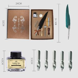 Image 5 - 1set Vintage Calligraphy Feather Dip Pen Writing Ink Set Stationery Gift Box with 5 Nib Wedding Gift Quill Pen Fountain Pens New