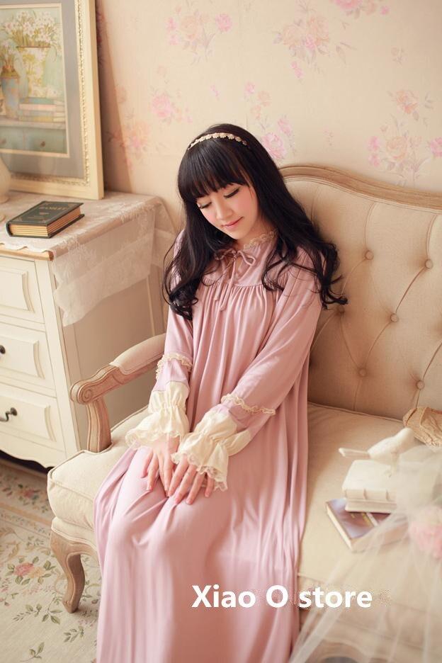 Princezna Noční košile Jarní podzim Sleepwear pro ženy Šaty Night Sleeve Nightdress Pink Sleepwear Pohodlné domácí oblečení