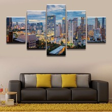 5 Panel Bangkok Building City Night Skyscraper Thailand Canvas Printed Painting For Living Room Wall Art Decor Picture Artwork