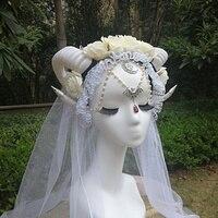 Halloween Horns Cosplay Flower Horn Headpiece Ram Horns Headband Maleficent Headdress Devil Headpieces