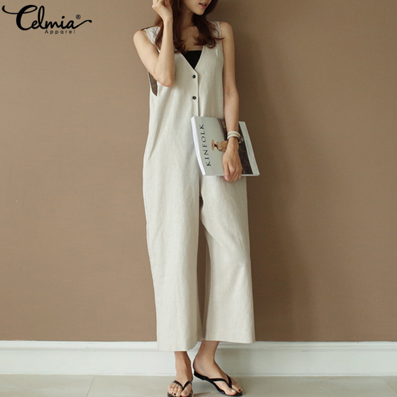 Celmia Summer Plus Size Vintage Women   Jumpsuit   2019 Romper Casual Sleeveless Wide Leg Pants V-neck Button Linen Straight Overall