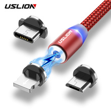 USLION LED Magnetic Cable Micro USB Cable Type C For Huawei Mate 20 Pro Samsung Fast Charging Magnet Charger For iPhone X Xiaomi