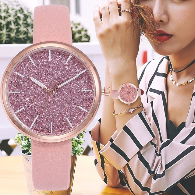 Drop Shipping Fashion Women Romantic Starry Sky Wrist Watch Casual Rose Gold Ste