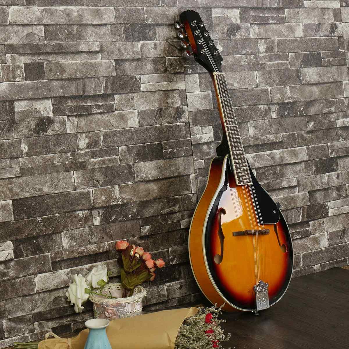 SENRHY coucher de soleil couleur palissandre 8 cordes F trou guitare basse électrique 20 Fret ukulélé pour les amateurs d'instruments à cordes musicales - 3