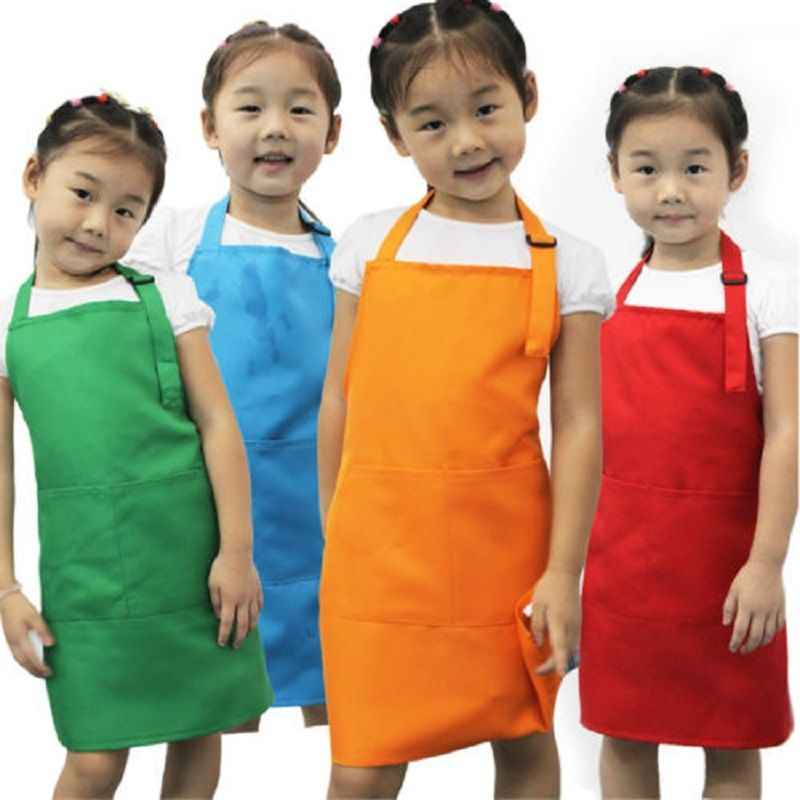 New Kids Apron Child Painting Cooking Baby Pinafore Solid Color Kitchen Hot Sale Toddler Clean Aprons