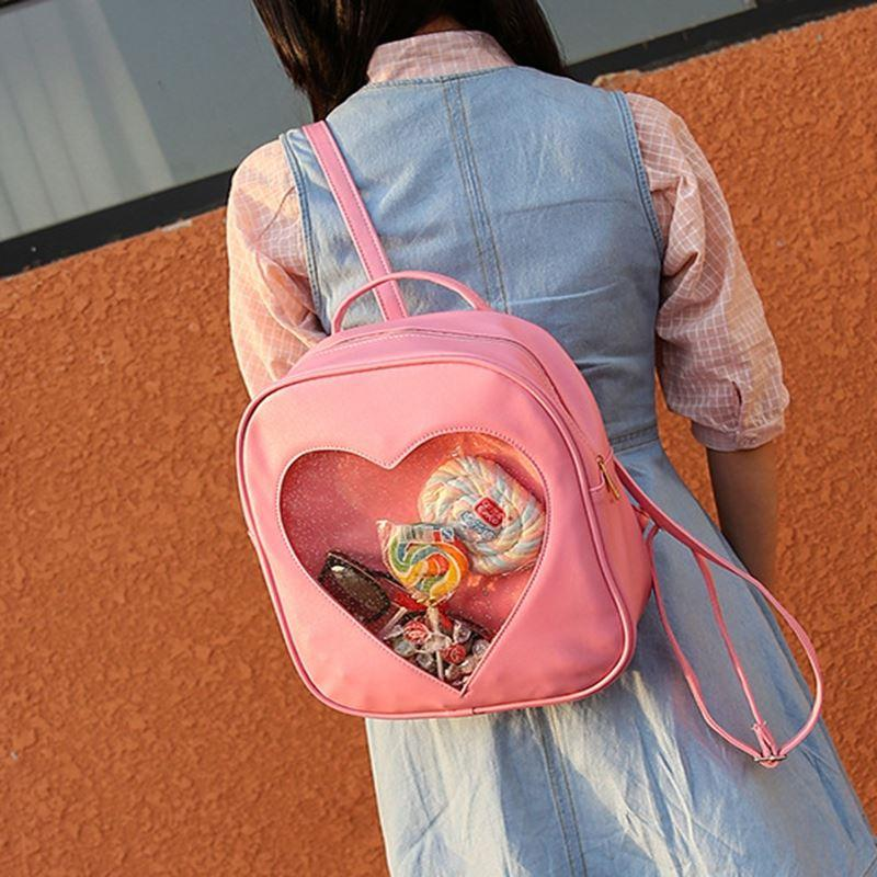 Women Love Heart Shape Backpack Shoulder School Bags For Teenage Girls Ita Bag PVC Transparent Korean Candy Color Backpacks